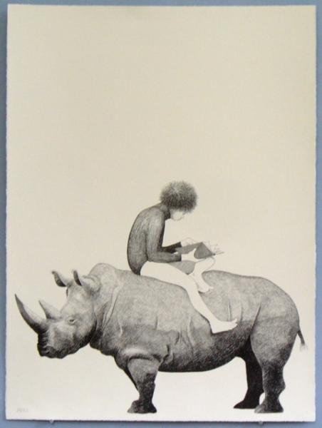 Girl on A Rhino by J. Joel
