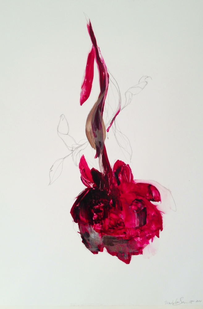 Velvet Paper Red Peonies  by Madeleine Lamont