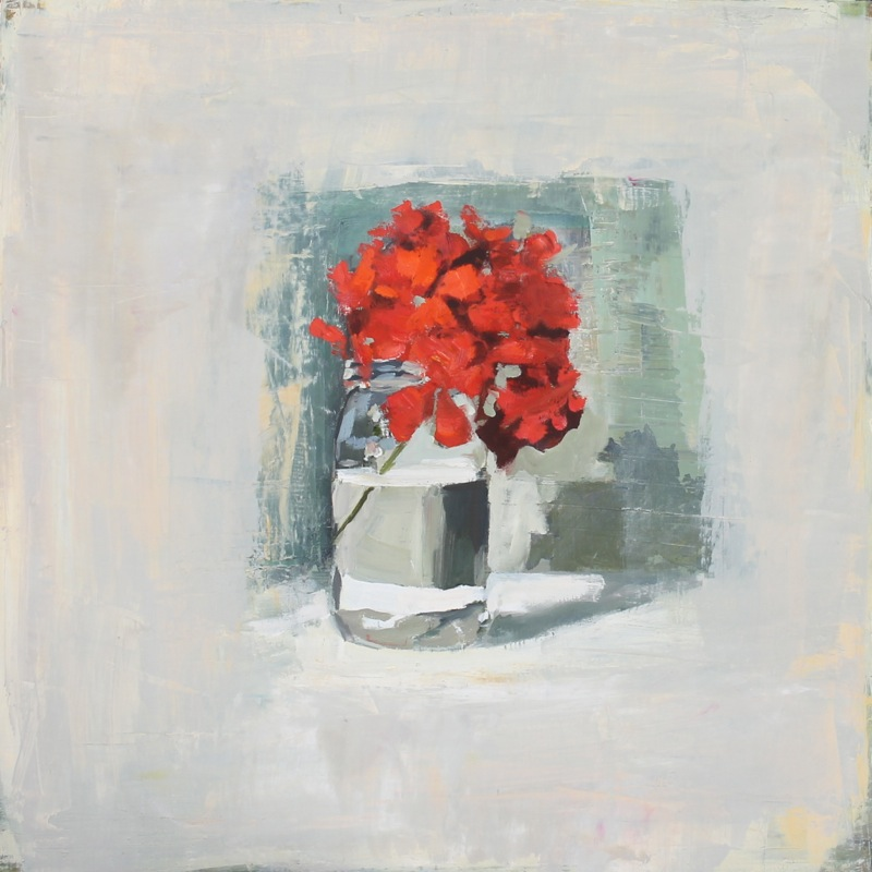 Red Geranium, Glass Jar  by Hilda Oomen