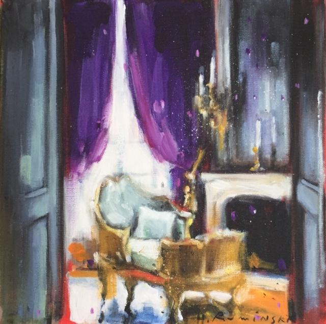 Interior with Purple Curtains by Hanna Ruminski