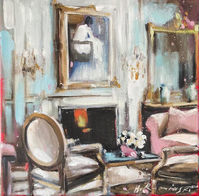 Parisian Apartment with Rose Sofa by Hanna Ruminski
