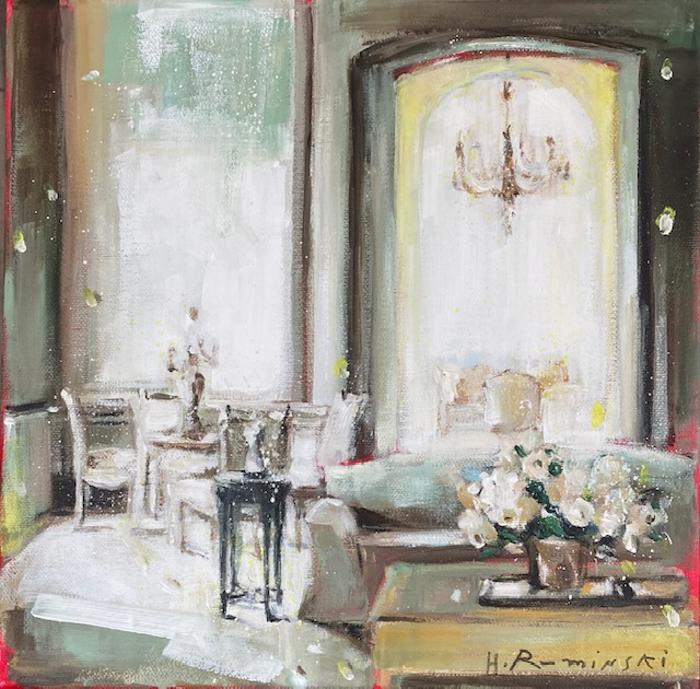 Interior with White Roses by Hanna Ruminski